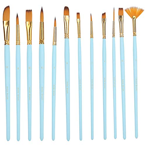 12PCs Nylon Brush Set Herramienta de pintura de pincel de acuarela Suministros de arte Acrílico en punta Acuarela Hook Line Pen Set Nylon Hair Principiante para(12 varillas azules mate)