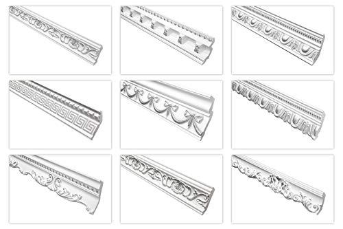 Marbet Deckenleisten silber, 2 Meter aus Styropor EPS - Stuckleisten gemustert, im traditionellen Design - (B-23) Styroporleiste Winkelleiste Wandleiste