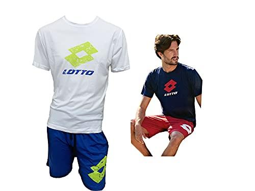 Lotto Completo Uomo Sportivo, T-Shirt + Pantaloncino, Completo Uomo Estivo in Cotone, Pigiama Uomo Corto Estivo Homewear (5085 Bianco, L)