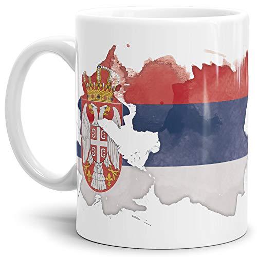 Tassendruck Flaggen-Tasse Serbien Weiss - Fahne/Länderfarbe/Wasserfarbe/Aquarell/Cup/Tor/Qualität Made in Germany