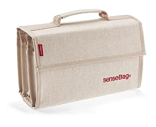 senseBag Wallet creme für 72 Marker, schwarze Tasche aus abwaschbaren Polyestergewebe, mit 24 abgenähten Stiftfächern