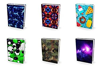 Super Fun Perfect Fit Book Cover Bulk 6 Pack Best Standard Size Stretchable Textbook Sox for Back to School Great for Boys Girls and Kids Printed Fabric Covers Smaller Hardcover Books 8x10x1