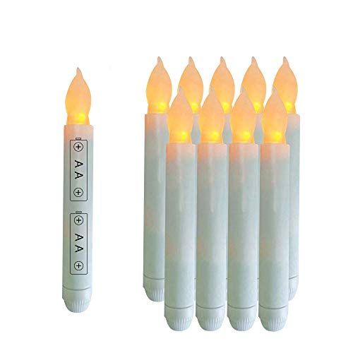Youngerbaby Set of 12 Yellow Mini Battery Operated LED Taper Candles, Flameless Taper Candles for Wedding Decorations,Christmas , Thanksgiving -Batteries Not Included - White Body Pillar Candles