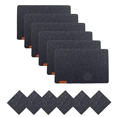 U'Artlines 6er Set Filz Platzsets und Untersetzer Hitzebeständigen Tischsets 30 * 43cm Dicke 5mm(6Platzsets&Untersetzer,Grau)