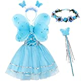 Tacobear Disfraz Hada Niña Disfraz Mariposa con Alas Hada Vestido Diademas Corona Flores Varitas Magicas Hada Mariposa Princesa Disfraces Accesorios Regalos Fiesta Cumpleaños para Niñas Niños (Azul)