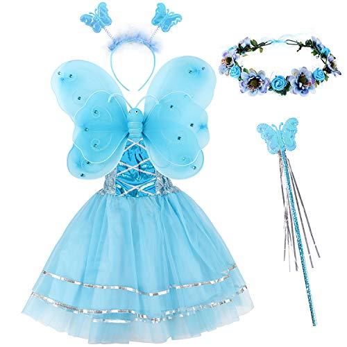 Tacobear 5 Pezzi Costume Fata Bambina con Bacchetta Magica Ali Farfalla Fascia per Capelli Coroncina Fiori Fata Abito Costume Farfalla Fatina Principessa Festa Compleanno per Bambina Bambini (Blu)