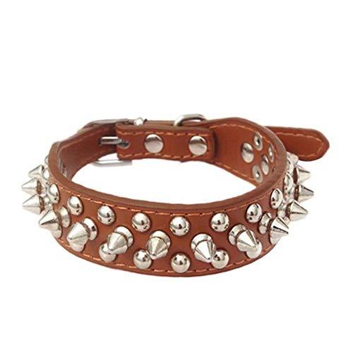 Qingsb Punk ronde spikes Spiked halsband voor honden Klinknagelkraag Nekband Bulldog-halsbanden PU-leer, bruin, M