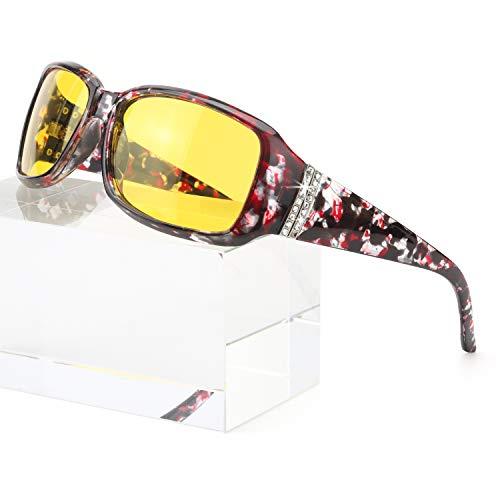 Enafad Damen-Nachtsichtbrille für blendfreies polarisiertes HD-Vision-Gelb mit Nachtfahrfunktion (Blumenrahmen/gelbe Nachtsichtlinse)