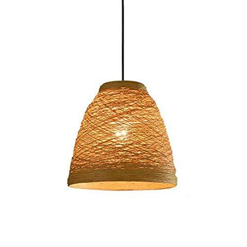 ZGAO Rétro Lustre Suspensions Lampe Pendentif Luminaire Chanvre Bambou Tissage Vigne Abat-Jour pour Industriel Restaurant/Bar/Cafe/Pastoral Chambre, φ 25cm