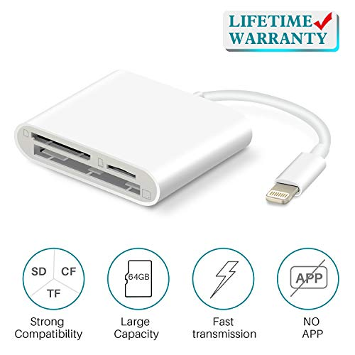 SD Card Reader for iPhone/iPad, VELLEE CF/TF/SD Memory Card Reader Adapter, Camera Kit, Trail Game Camera Viewer Compatible with iPhone 11/X/XR/XS/MAX/8 Plus/8/7 Plus/7/6s Plus/iPad Mini/Air