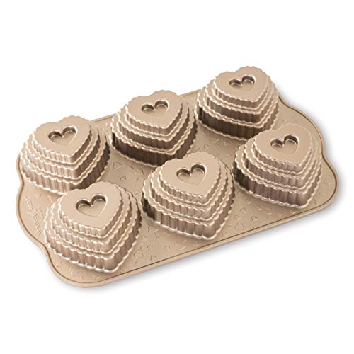 Nordic Ware Cast Bundt Bakeware Tiered Heart Cakelets Toffee, 3-Cup