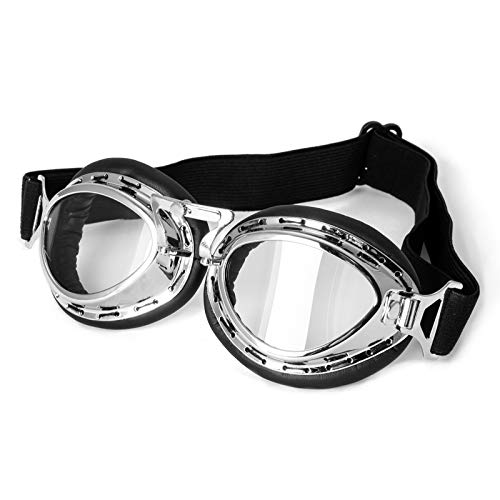 Lunettes Moto Masque Protection Vintage Aviateur Goggles Sport Argent