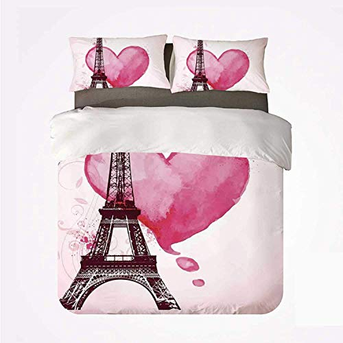 Juego de Funda nórdica Decoración de la Torre Eiffel Práctico Juego de 3 Camas, Eiffel Romantic Valentine Love Acuarela temática Corazón Hoja Silueta Imprimir para Dormify