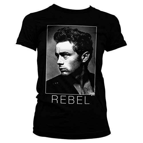 James Dean Oficialmente Licenciado BW Rebel Mujer Camiseta (Negro), X-Large