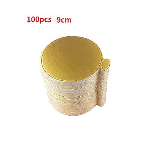 Juego de 100 tablas de mousse para tartas, bandeja de postre desechable, color dorado 9 cm