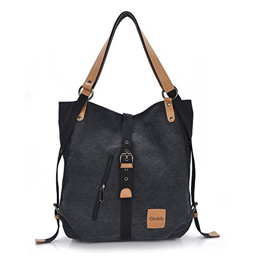 GINDOLY Vintage Lady Handbag Backpack Shouler Bag Canvas Large 3 in 1 Multifunctional Bag for Work,School, Shopping Travel and Daily Life (Black)