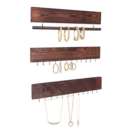 Comfify Set of 3 Rustic Wood & Gold Tone Metal Jewelry Organizers - Brown