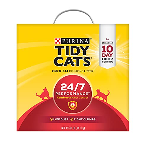 lg litter boxes Purina Tidy Cats Clumping Cat Litter, 24/7 Performance Multi Cat Litter - 40 lb. Box