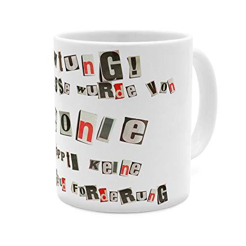 printplanet Tasse mit Namen Leonie - Motiv Ausgeschnittene Buchstaben - Namenstasse, Kaffeebecher, Mug, Becher, Kaffeetasse - Farbe Weiß