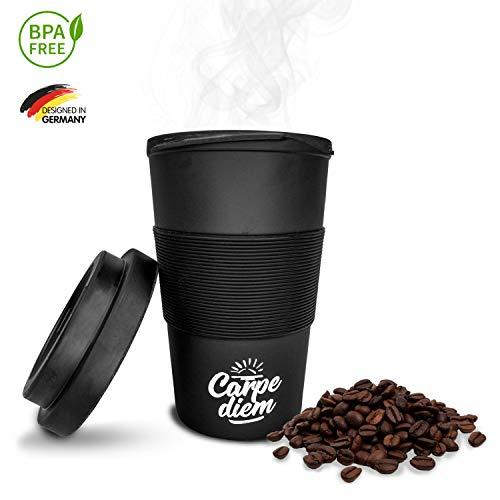 Timeler ® Kaffee to Go Becher aus nachhaltigen Bambusfasern 400ml | Deckel mit Schraubverschluss | Umweltfreundlich & Ökologisch | Bamboo Cup Coffee