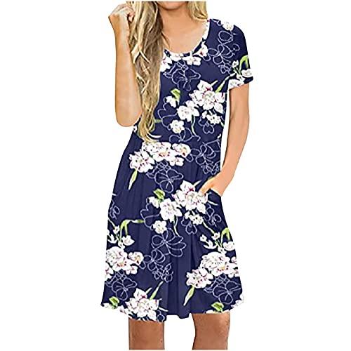 Vestidos de verano para mujer con estampado de manga corta y cuello redondo, sueltos, hasta la rodilla, casual, vestido de túnica