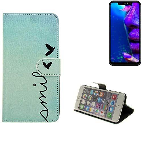 K-S-Trade® Schutzhülle Für Allview Soul X5 Hülle Wallet Case Flip Cover Tasche Bookstyle Etui Handyhülle ''Smile'' Türkis Standfunktion Kameraschutz (1Stk)