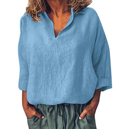 Staresen Damen Langarmshirt Einfarbiges Hemden Frauen Baumwollblusen V Ausschnitt Hemd Loses T-Shirt Langes Hülsen Lose Spitzenhemd Freizeithemd Pullover Sweatshirt Oberteil Tops
