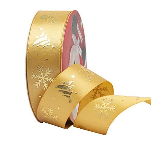 Quyi Cintas de Navidad Grosgrain Cinta de tela de raso, cinta de regalo de Navidad, cinta de regalo, cinta de decoración de 2,5 cm x 25 yardas de oro