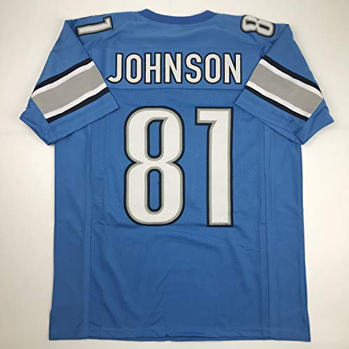 Unsigned Calvin Johnson Detroit Blue Custom Stitched Football Jersey Size XL New No Brands/Logos