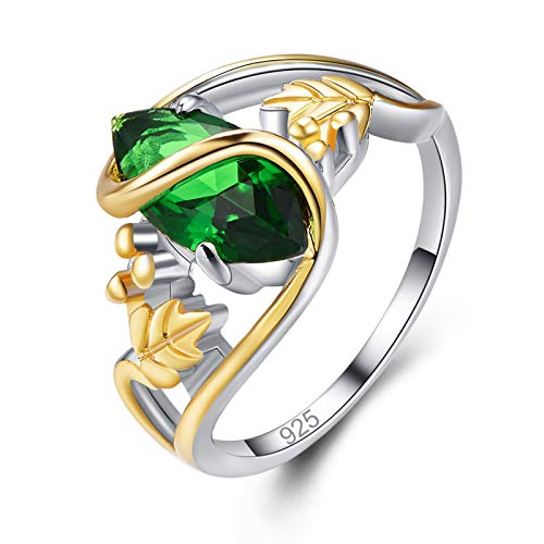Psiroy 925 Sterling Silver Marquise Created Emerald Quartz Filled Leaf Ring Size 9