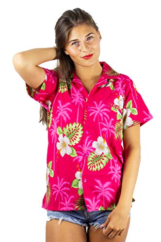 V.H.O. Funky Hawaiihemd Hawaiibluse, Kleine Blumen, pink, L