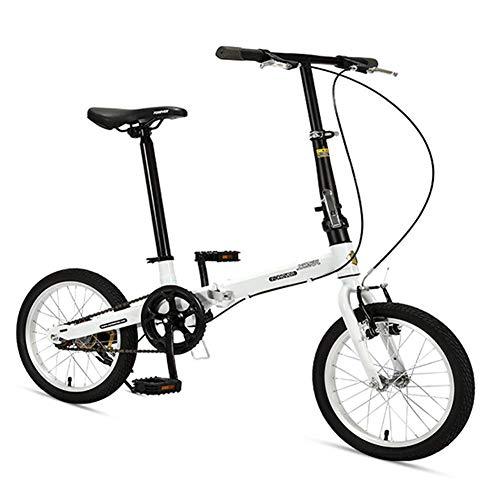 "Xiaoyue 16\"" Falträder, High-Carbon Stahl Leichtgewichtler Faltrad, Mini Single Speed Verstärkter Rahmen Commuter Bike, leichtes, tragbares, Schwarz lalay (Color : White)"