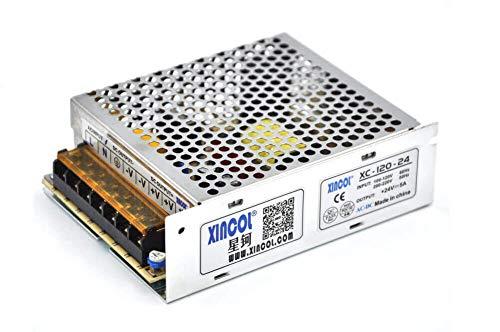 XINCOL AC a DC convertidor AC110V/220V a DC24V 5A 120W DC conmutación Fuente de alimentación Transformador regulado para Tira de luz LED, CCTV, cámara, Proyecto de computadora, etc.