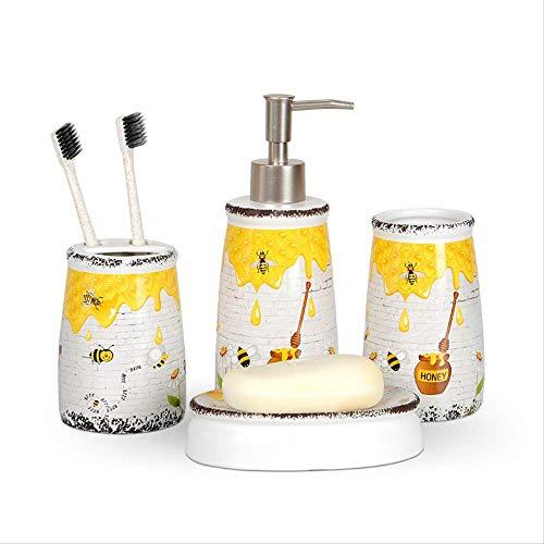 VAVOOST Vierteiliges Set Aus Keramik-badwäsche, Kreativer Druck, Heimdekoration, Hotelbedarf, Zahnbürstenhalter, Seifenspender, Geschenkset Für Das Bad Biene