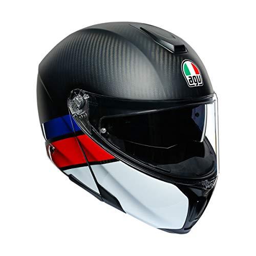 AGV Unisex-Erwachsene Sportmodular Helm, Carbon/Rot/Blau, Small
