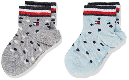 Tommy Hilfiger TH Baby 2p Sock Girls Dots Calcetines, Multicolor (Light Grey Blue 323), 19-22 (Talla del fabricante: 019) (Pack de 2 para Bebés