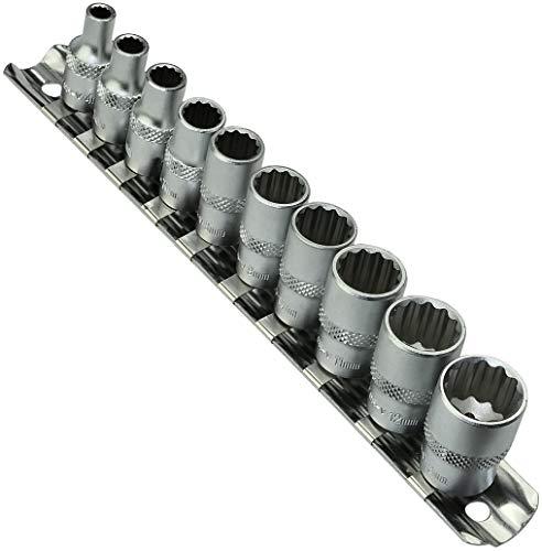 AERZETIX - Juego/Soporte/Kit/Riel de 10 Vasos/Puntas de Atornillado - 1/4 4,5,6,7,8,9,10,11,12,13mm -...
