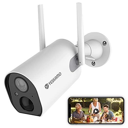 1080P Funk Überwachungskamera mit Akku 15000mAh, NEUESTE YESKAMO Funk Überwachungskamera mit AI Humanerkennung für Innen Außen,15Metern IR Nachtsicht,2-Wege Audio,Echtzeit Push Alarme & Fernzugriff