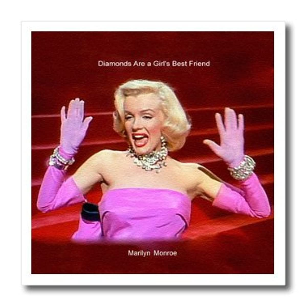 3dRose ht_107176_1 Marilyn Monroe Singing Diamonds are a Girls Best Friend 'Textured'-Iron on Heat Transfer for White Material, 8 by 8-Inch
