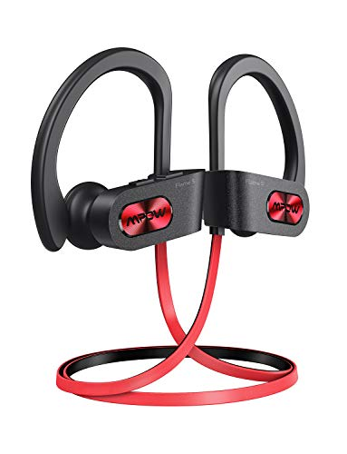 Mpow Flame S Bluetooth Headphones Sports, aptX-HD Bass+ Loud Sound, Bluetooth 5.0 Sport Headphones Running Earbuds W/12H Playtime, IPX7 Waterproof, cVc8.0 Noise Cancelling Mic W/Carrying Case, Red