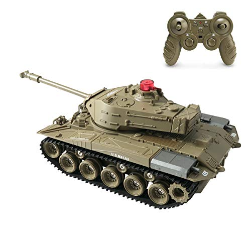 RC Tank Remote Tank Toy, Remote Control Mini RC That Shoots with Lights Realistic Sounds, RC Vehicle Full-Function Stunt Car Military Toy Tank (Military Green)