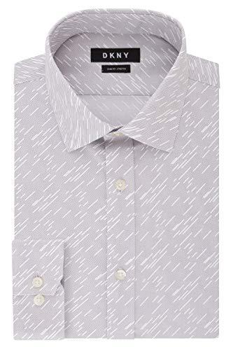 DKNY Men's Dress Shirt Slim Fit Stretch Print, Grey Mist, 16' Neck 34'-35' Sleeve (Large)