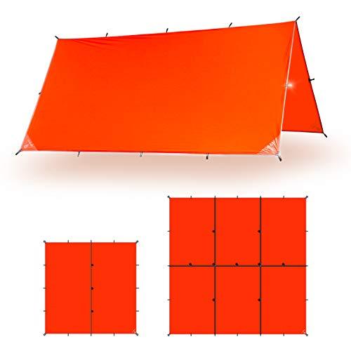 Aqua Quest Survivor Leichtgewicht Tarp - wasserdichte SIL Plane 4,5 x 4,5 m - XL Silikon Bushcraft Campingunterstand - Orange