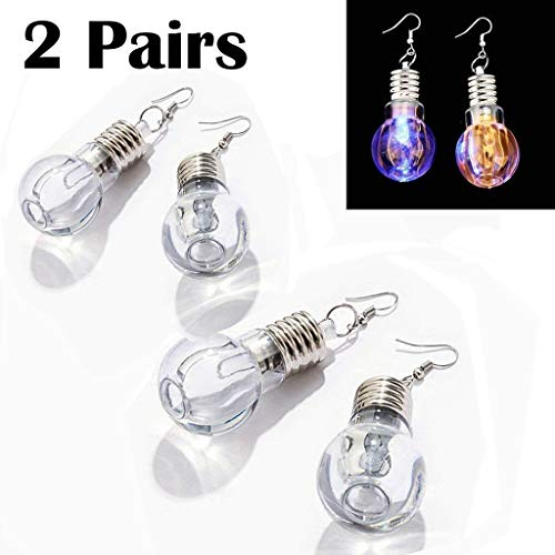 eLUUGIE 2 Pairs/4 Pecies LED Earrings Glowing Light Up Toy Bulb Shape Ear Drop Dance Party Accessories Multicolored Flashing for Christmas Party Gift Halloween Festival Party (2 Pairs/ 4 Pieces)