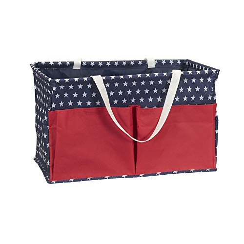 Household Essentials Red, White, and Blue Krush Canvas Utility Tote with Pockets | Reusable Grocery Bag