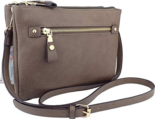 B BRENTANO Multi-zipper Double Pocket Crossbody Handbag Purse (Stone)