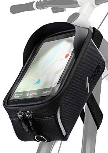 ONEFLOW® Premium Handyhalterung Fahrrad Rahmentasche Wasserdicht für alle Vernee Handys | Handyhalter Fahrrad Tasche Rahmen Halterung mit Smartphone Touchscreen Sichtfenster, Schwarz