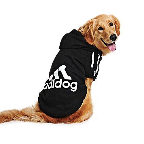 DULEE adidog Hund Warme Hoodies Mantel Jumpsuit Haustier Kleidung Jacke Pullover Baumwolle Pullover Outwear Schwarz 8XL