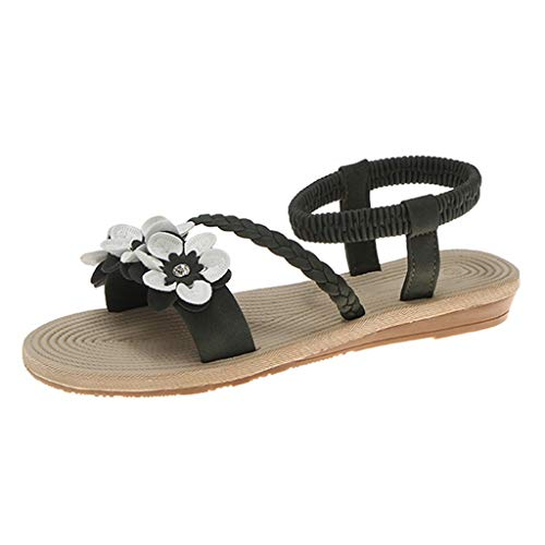 MIRRAY Fashion Sandals for Girls Elastic Ankle Strap Flat Flower Decro Slip On Slides Women's Summer Street Shoes Green