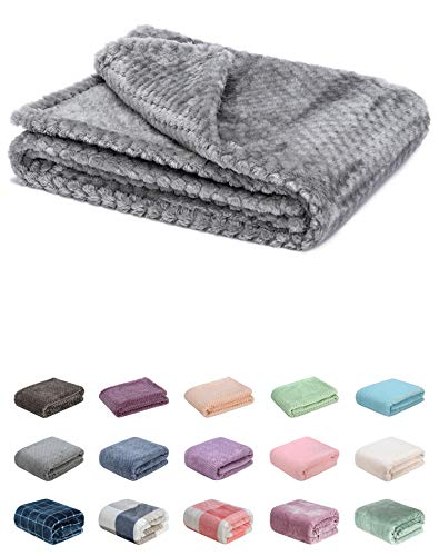Fuzzy Blanket or Fluffy Blanket for Baby, Soft Warm Cozy Coral Fleece Toddler, Infant or Newborn Receiving Blanket for Crib, Stroller, Travel, Decorative (28Wx40L, XS-Flint Gray)